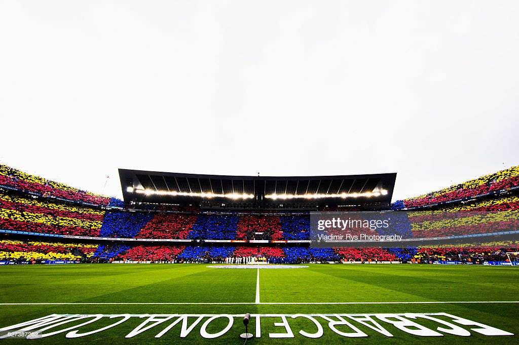 Teams enter the pitch for the La Liga match between FC Barcelona and Real Madrid CF at Camp Nou stadium on December 03 2016 in Barcelona Spain
