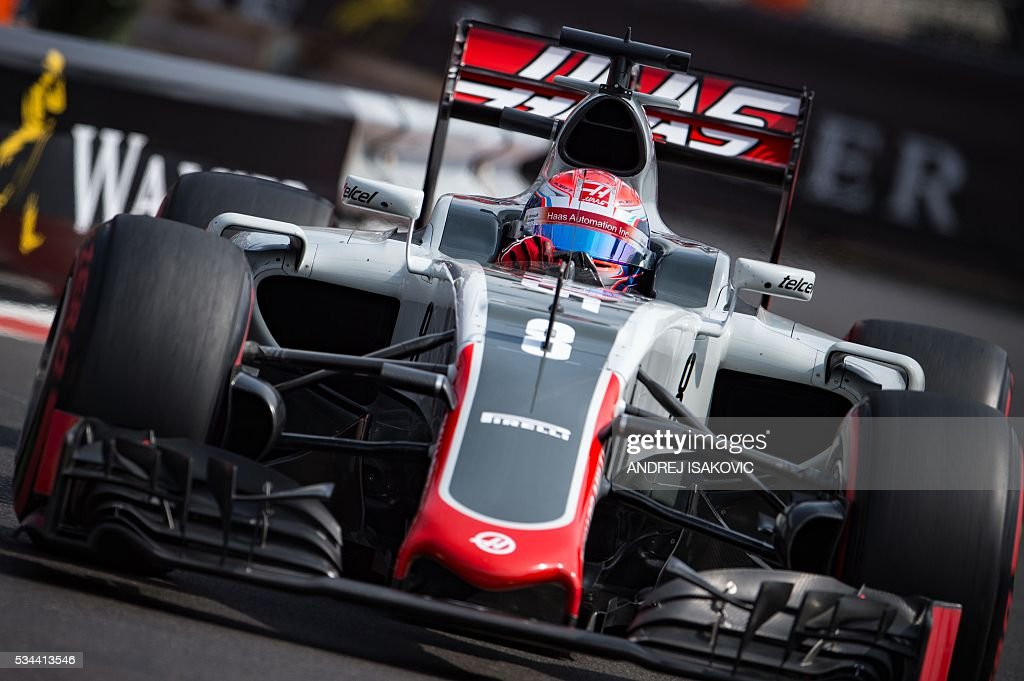 Team's French driver Romain Grosjean drives during the first practice session at the Monaco street circuit, on May 26, 2016 in Monaco, three days ahead of the Monaco Formula 1 Grand Prix. / AFP / ANDREJ