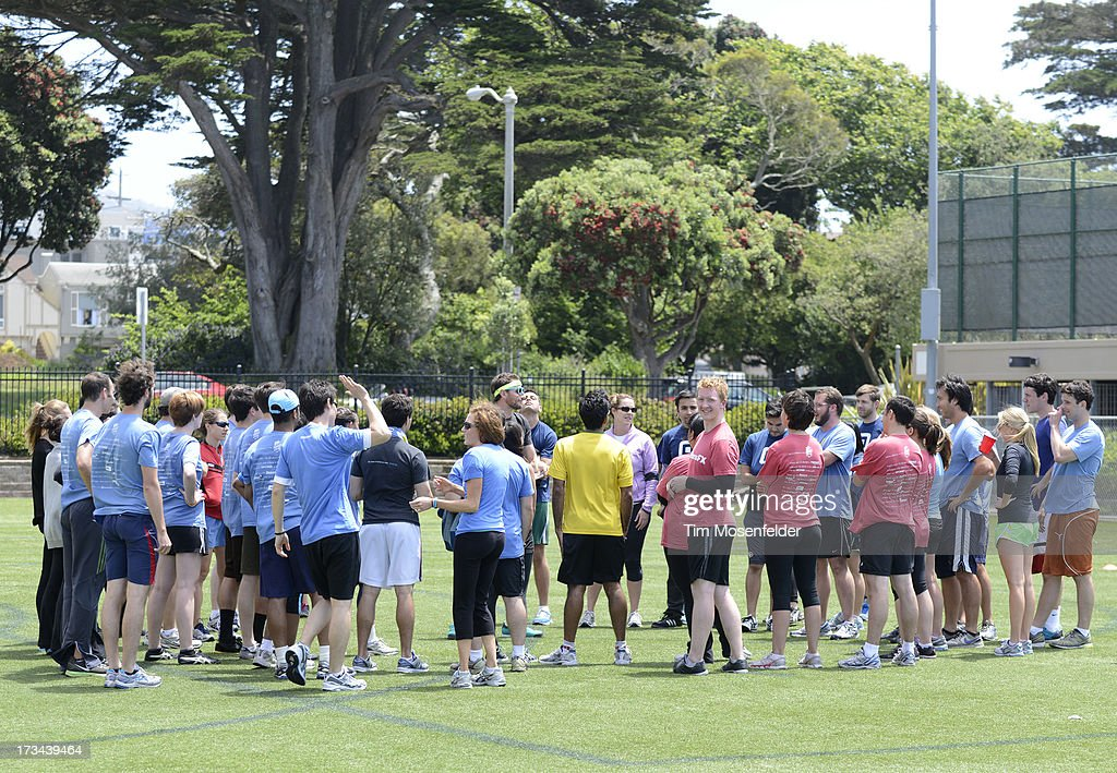 Teams gather at the Founder Institute's Silicon Valley Sports League on July 13, 2013 in San Francisco, California.