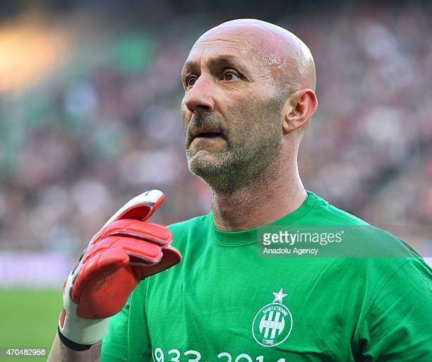 UNDP team's goalkeeper Fabien Barthez is seen during the Match Against Poverty at Stade GeoffroyGuichard on April 20 2015 in SaintEtienne France The...