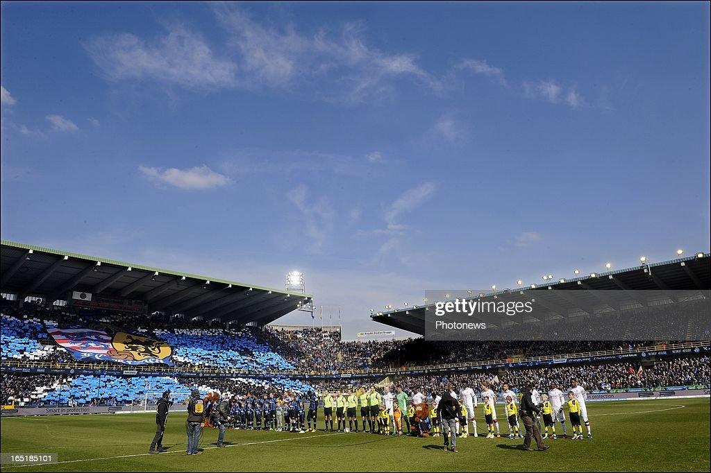 Teams line up before the Jupiler League match between Club Brugge and Standard de Liege on April 01, 2013 in the Jan Breydel Stadium in Brugge, Belgium.