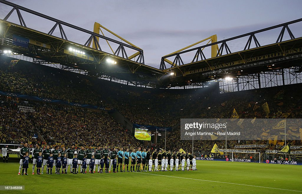 Teams line up before the UEFA Champions League Semi Final first leg match between Borussia Dortmund and Real Madrid at Signal Iduna Park on April 24, 2013 in Dortmund, Germany.
