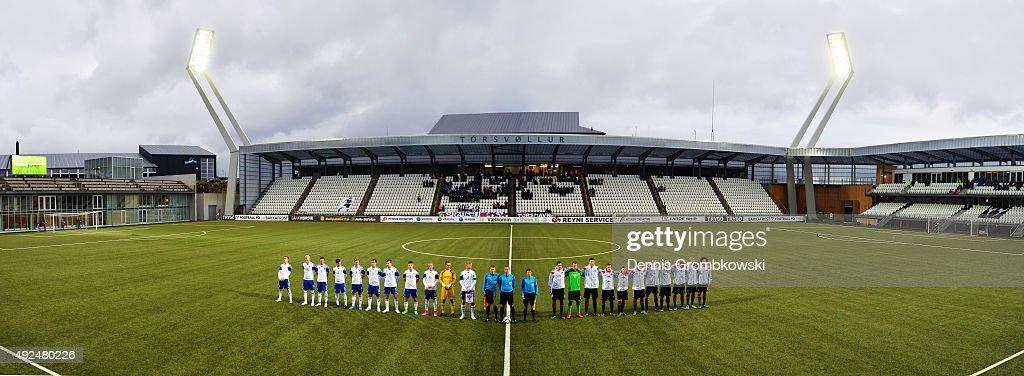 Teams line up for the 2017 UEFA European U21 Championships Qualifier between U21 Faroe Islands and U21 Germany at Torsvollur on October 13 2015 in...