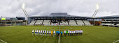 Teams line up for the 2017 UEFA European U21 Championships Qualifier between U21 Faroe Islands and U21 Germany at Torsvollur on October 13 2015 in...