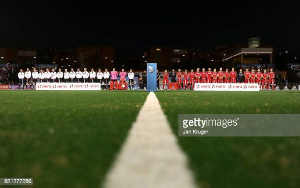 Teams line up for the national anthems during day 9 of the FIH Hockey World League Men's Semi Finals final match between Belgium and Germany at Wits...