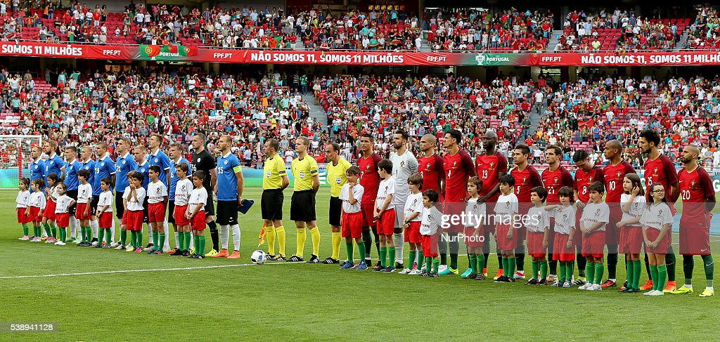 Teams lined up before the start of international friendly match between Portugal and Estonia in preparation for the Euro 2016 at Estadio da Luz on...