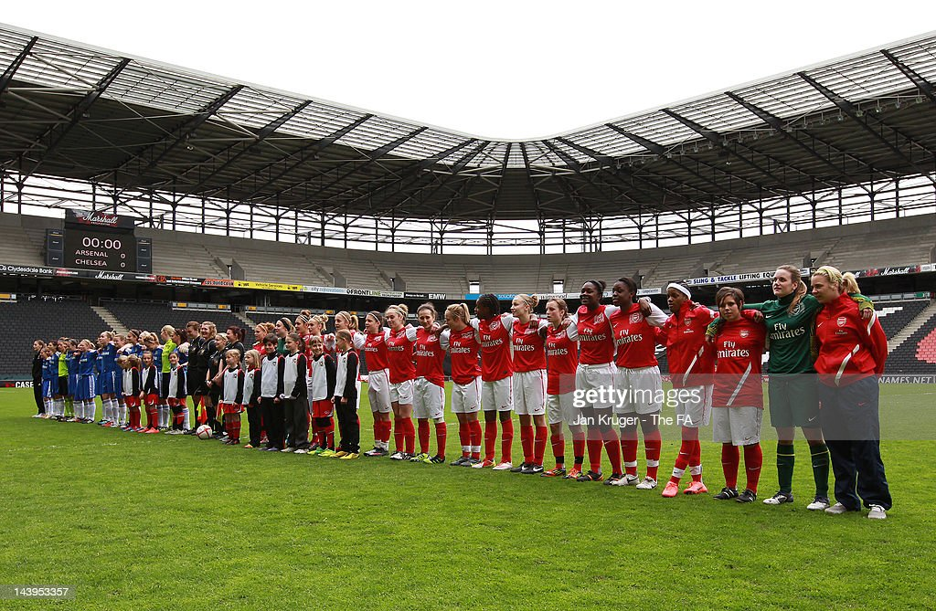 Teams line-up prior to kick off during the FA Girls' Youth Cup U17s Centre of Excellence Final between Arsenal and Chelsea at Stadium MK on May 6, 2012 in Milton Keynes, England.