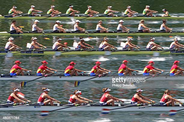Teams of Australia Germany Great Britain Romania and Netherlands compete in the Women's Eight Repechage during Day 2 of the 2015 World Rowing Cup III...