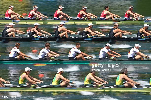 Teams of Netherlands New Zealand Germany and Australia compete in the Men's Eight heats during Day 1 of the 2015 World Rowing Cup III on Lucerne...
