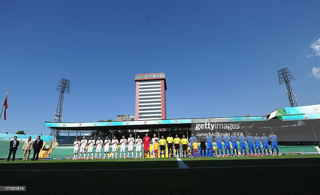 Teams of New Zealand and Uzbekistan line up during the FIFA U-20 World Cup Group F match between New Zealand and Uzbekistan at the Ataturk Stadium on June 23, 2013 in Bursa, Turkey.