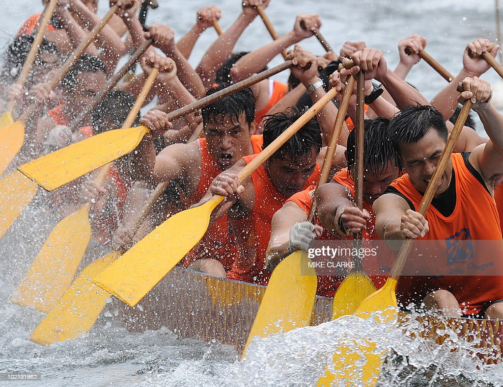 Teams participate in Dragon Boat races at Aberdeen harbour to celebrate the Dragon Boat Festival (Tuen Ng) in Hong Kong on June 16, 2010. The racing is held every year throughout the territory. According to legend national hero Qu Yuan died fighting for political reform. Townspeople tried to rescue him from drowning in the river and beat drums to scare the fish and now the tradition is continued with the Dragon Boat races.