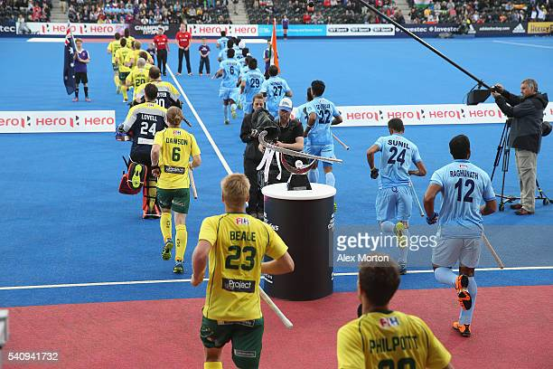 Teams run out prior to the FIH Mens Hero Hockey Champions Trophy 1st2nd place match between Australia and India at Queen Elizabeth Olympic Park on...