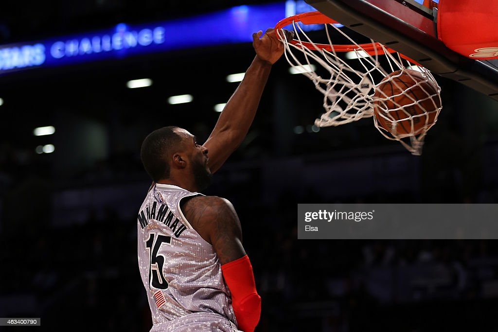 U.S. Team's <a gi-track='captionPersonalityLinkClicked' href=/galleries/search?phrase=Shabazz+Muhammad&family=editorial&specificpeople=7447677 ng-click='$event.stopPropagation()'>Shabazz Muhammad</a> #15 of the Minnesota Timberwolves dunks the ball during the BBVA Compass Rising Stars Challenge as part of the 2015 NBA Allstar Weekend at the Barclays Center on February 13, 2015 in the Brooklyn borough of New York City.