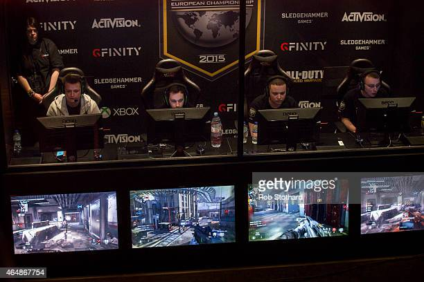 Teams take part in a qualifying match at the 2015 Call of Duty European Championships at The Royal Opera House on March 1 2015 in London England The...