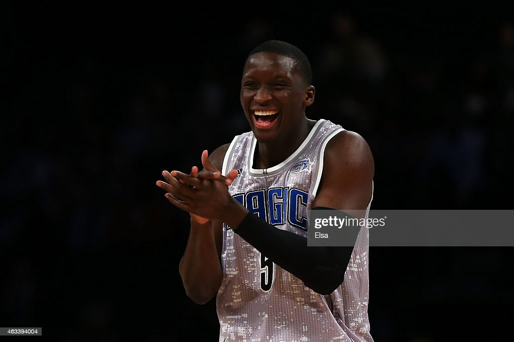 U.S. Team's <a gi-track='captionPersonalityLinkClicked' href=/galleries/search?phrase=Victor+Oladipo&family=editorial&specificpeople=6681560 ng-click='$event.stopPropagation()'>Victor Oladipo</a> #5 of the Orlando Magic reacts against World Team during the BBVA Compass Rising Stars Challenge as part of the 2015 NBA Allstar Weekend at the Barclays Center on February 13, 2015 in the Brooklyn borough of New York City.