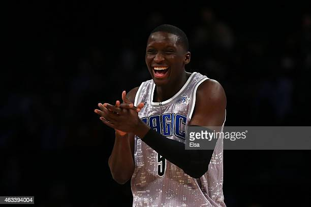 S Team's Victor Oladipo of the Orlando Magic reacts against World Team during the BBVA Compass Rising Stars Challenge as part of the 2015 NBA Allstar...