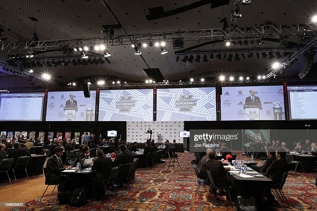 Teams work at their respective tables during the 2013 MLS SuperDraft Presented by Adidas at the Indiana Convention Center on January 17, 2013 in Indianapolis, Indiana.
