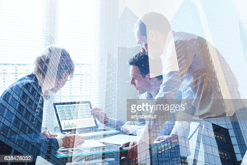 teamwork concept, business team working together : Stock Photo