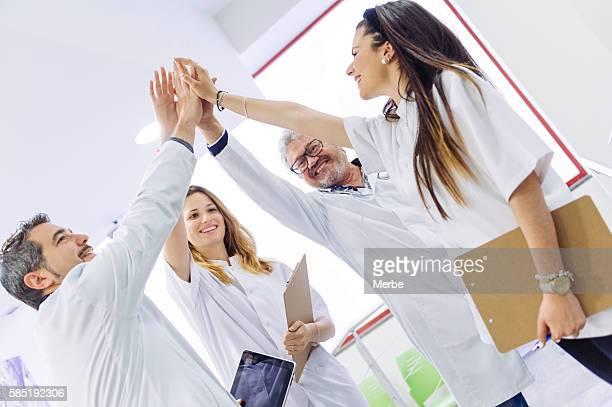 Teamwork doing high-five