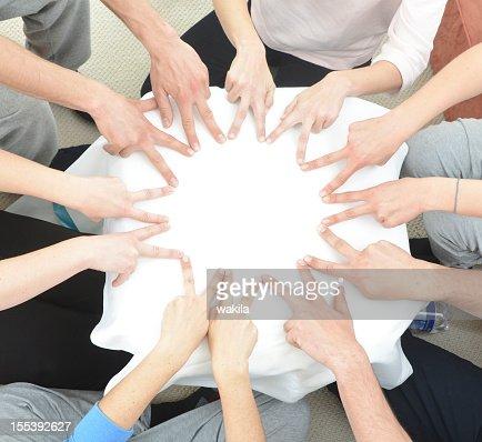 チームワークハンドビルビュー星のサークルに指-Sternförmig