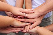 Teamwork: Hands together