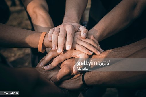 Teamwork Join Hands Support Together Concept. Sports People Joining Hands. : Stock Photo