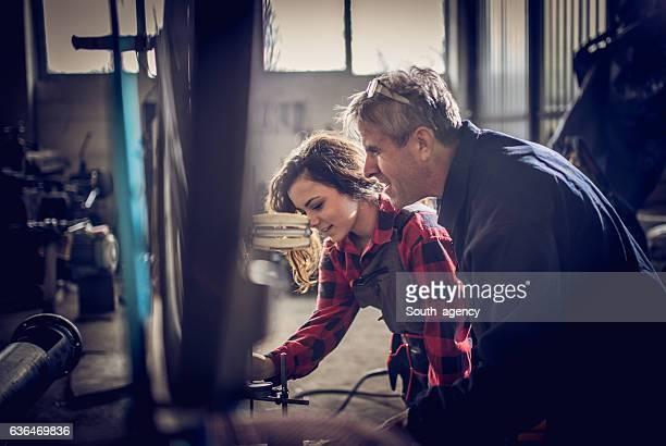 Teamwork when fixing a bike