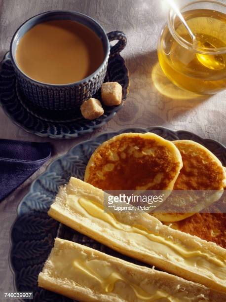 Tea,pancakes, bread and butter