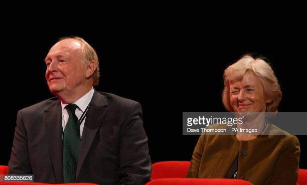 A tear rolls down the cheek of Neil Kinnock as his wife Glenys Kinnock winks towards their daughter in law and Leader of the Danish Social Democratic...