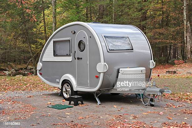 Teardrop camper trailer in the Smoky Mountains