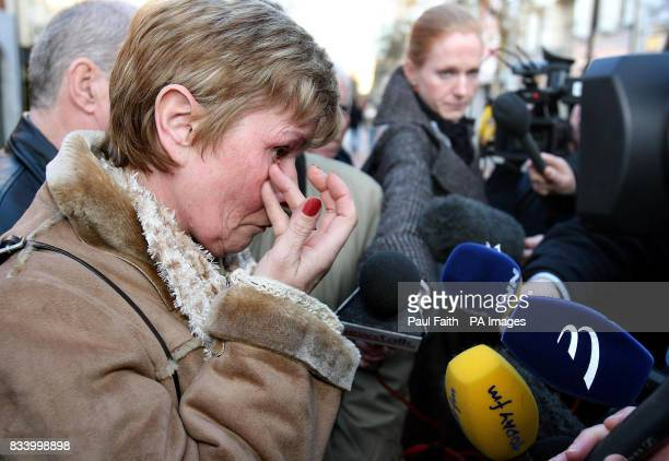 A tearful Breige Quinn the mother of murdered teenager Paul Quinn speaks to the media after a meeting with Foreign Affairs Minister Dermot Ahern...