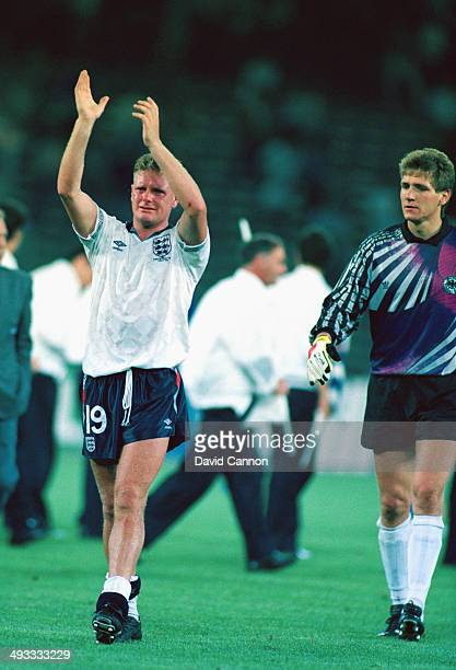 A tearful Paul Gascoigne salutes the fans after loosing the FIFA World Cup Finals 1990 Semi Final match between West Germany and England at the...