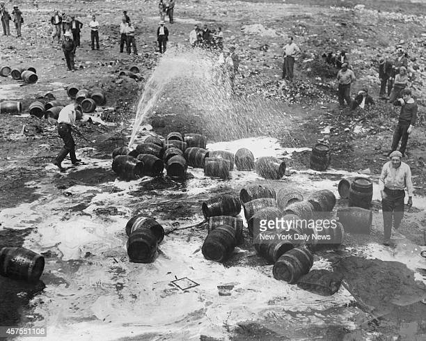 Tears mingled with strong beer in Newark NJ as prohibition agents destroyed the unlawful liquor some of which was seized in Hoboken raid