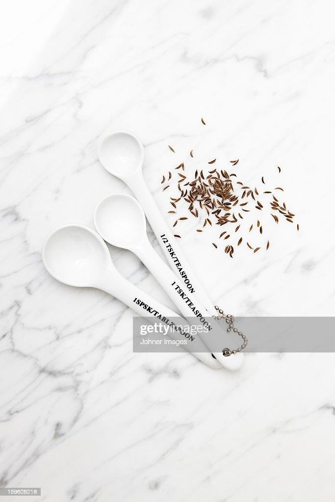 Teaspoons and caraway Seeds