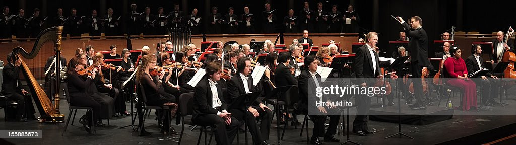 Teatro Grattacielo performing Italo Montemezzi's 'La Nave' at Rose Theater on Wednesday night, October 31, 2012.This image:Israel Gursky leading the Teatro Grattacielo Orchestra with a soloist Robert Brubaker (standing).