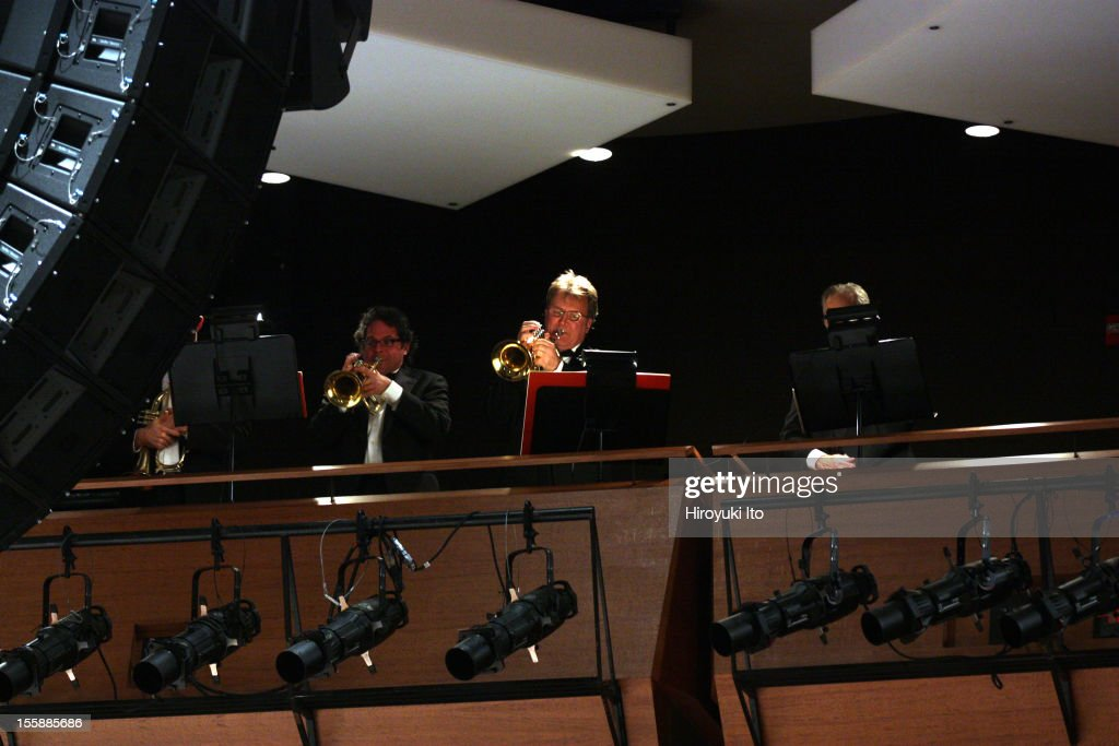 Teatro Grattacielo performing Italo Montemezzi's 'La Nave' at Rose Theater on Wednesday night, October 31, 2012.This image:The trumpet section in balcony.