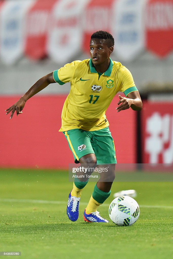 Tebogo Moerane of South Africa in action during the U-23 international friendly match between Japan and South Africa at the Matsumotodaira Football Stadium on June 29, 2016 in Matsumoto, Nagano, Japan.