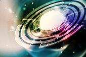 Techno circular shape scene abstract background