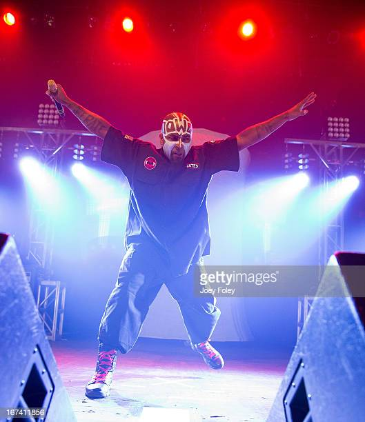 Tech N9ne performs onstage at the Egyptian Room at Old National Centre on April 24 2013 in Indianapolis Indiana