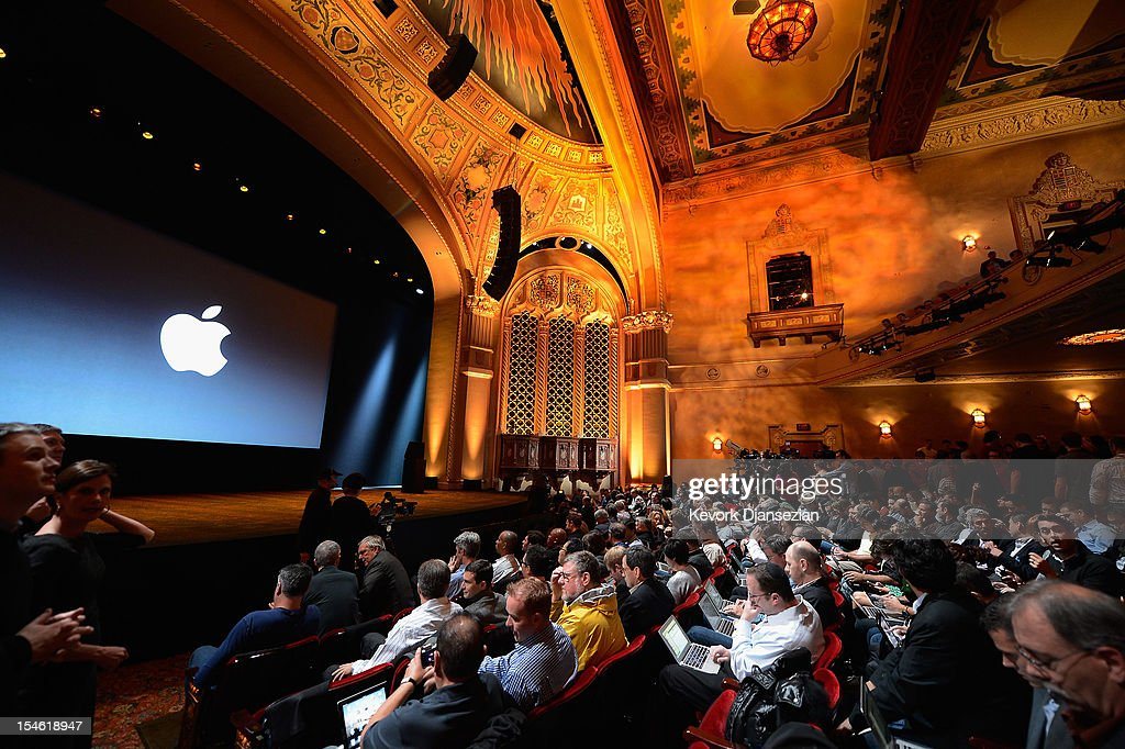 Tech reporters, bloggers and members of the news media wait for the start of an Apple special event at the historic California Theater on October 23, 2012 in San Jose, California. Apple introduced the new iPad mini at the event, Apple's smaller 7.9 inch version of the iPad tablet.