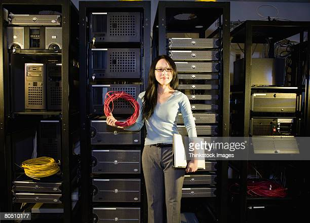 Tech support worker in server room