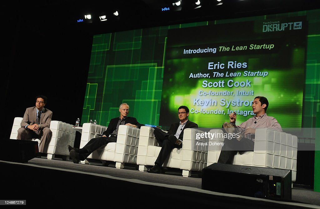 TechCrunch Co-Editor Erick Shonfeld, Intuit Co-Founder Scott Cook, Author of The Lean Startup Eric Ries and Instagram Co-Founder Kevin Systrom speak onstage at Day 2 of TechCrunch Disrupt SF 2011 held at the San Francisco Design Center Concourse on September 13, 2011 in San Francisco, California.