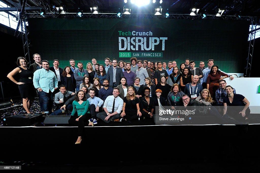 TechCrunch staff photo onstage following TechCrunch Disrupt SF 2015 at Pier 70 on September 23 2015 in San Francisco California