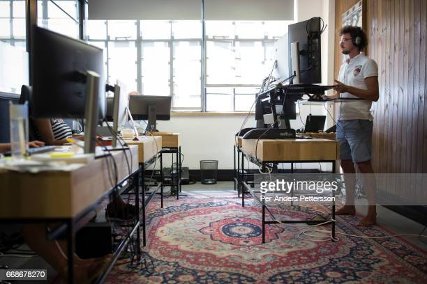 Techies work in a shared office space called 'Ideas Cartel' where entrepreneurs and small businesses rent office space on November 21 2016 in Central...