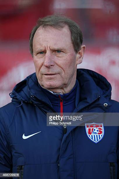 Technical adviser Berti Vogts inspects the pitch prior to the international friendly match between Switzerland and the United States at Stadium...