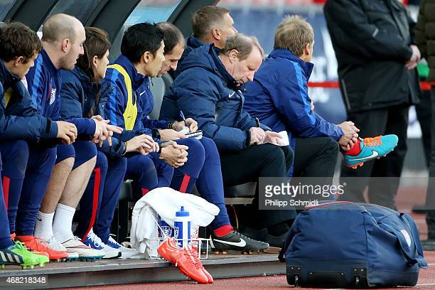 Technical adviser Berti Vogts of the USA makes notes during the international friendly match between Switzerland and the United States at Stadium...