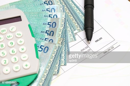 Technical analysis graphics and money : Stock Photo
