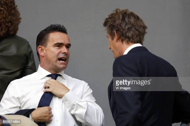 technical director Marc Overmars of Ajax general director Edwin van der Sar of Ajax during the UEFA Europa League fourth round qualifying first leg...