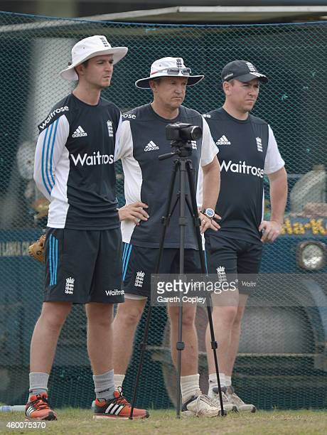 Technical Director of Elite Coaching Andy Flower with analyst Liam Sanders and bowling coach Chris Silverwood during a nets session at Colts Cricket...