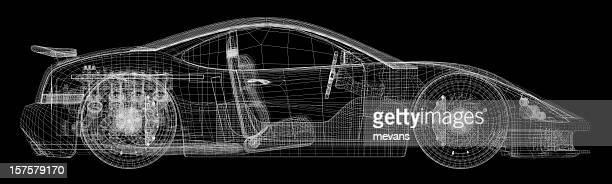 Technical Drawing of a Sports Car